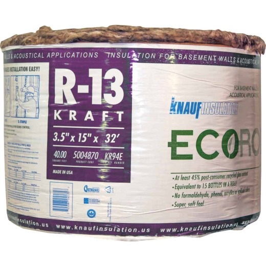 Knauf R-13 15 In. x 32 Ft. Greenguard Kraft Faced Roll Fiberglass Insulation