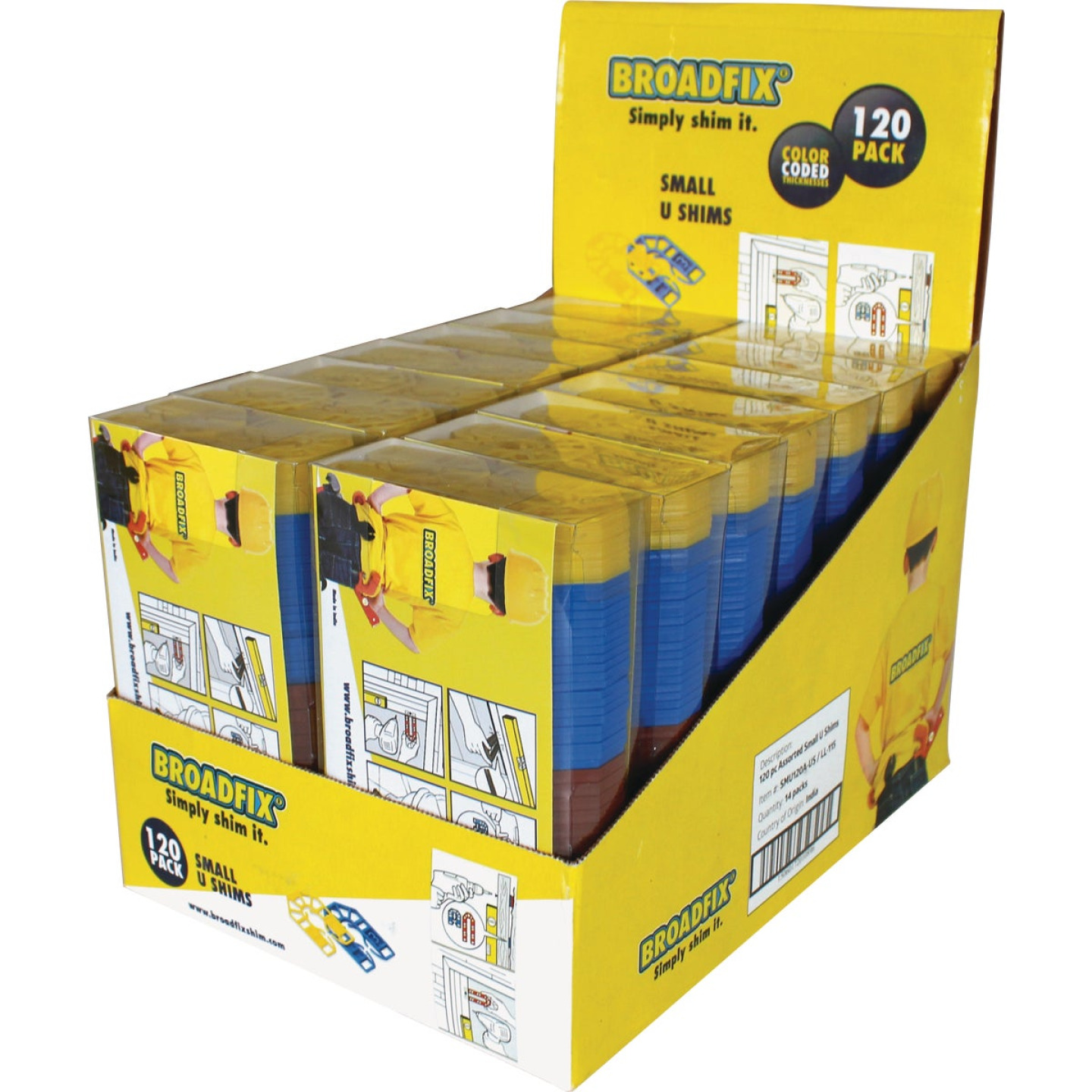 Broadfix 2-3/16 In. L Polypropylene Small U Shim, Assorted Thicknesses (120-Count) Image 1