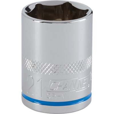 Channellock 1/2 In. Drive 21 mm 6-Point Shallow Metric Socket