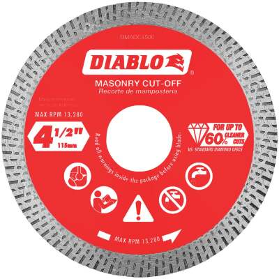 Diablo 4-1/2 In. Diamond Continuous Rim Dry/Wet Cut Diamond Blade