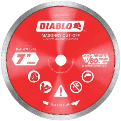 Diablo 7 In. Diamond Continuous Rim Dry/Wet Cut Diamond Blade