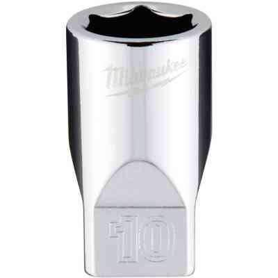 Milwaukee 1/4 In. Drive 10 mm 6-Point Shallow Metric Socket with FOUR FLAT Sides