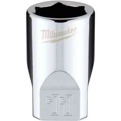Milwaukee 1/4 In. Drive 11 mm 6-Point Shallow Metric Socket with FOUR FLAT Sides