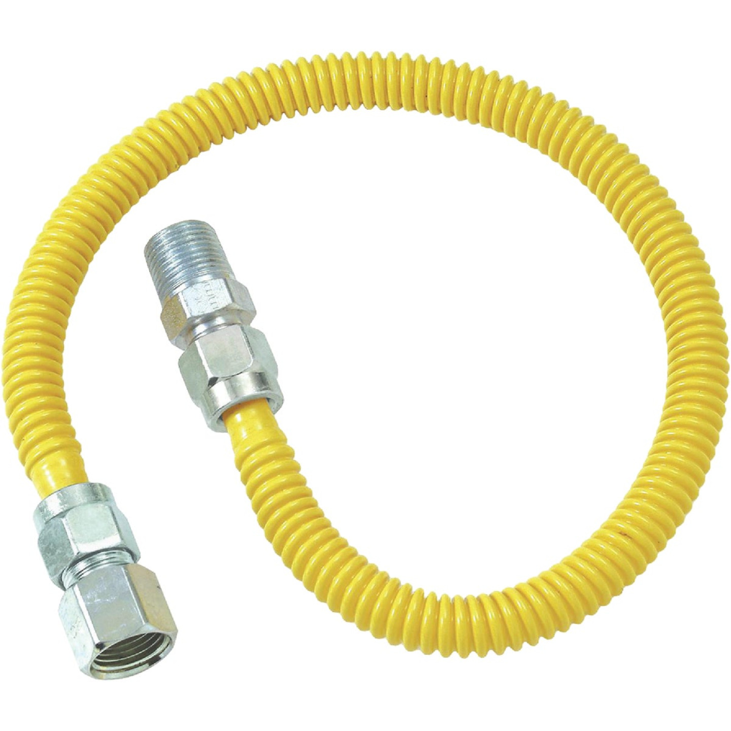 Dormont 1/2 In. OD x 36 In. Coated Stainless Steel Gas Connector, 1/2 In. FIP x 1/2 In. MIP (Tapped 3/8 In. FIP) Image 1