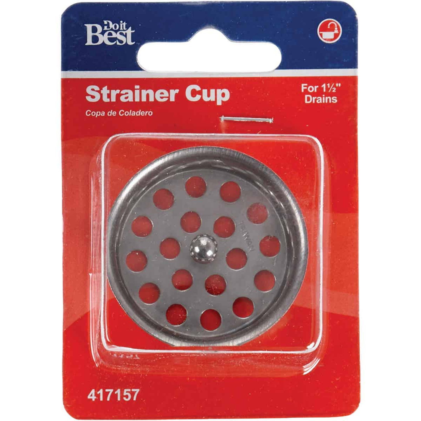 Do it 1-1/2 In. Chrome Removable Strainer Cup with Post  Image 2