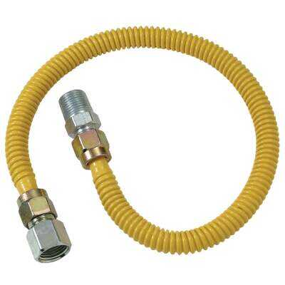 Dormont 1/2 In. OD x 60 In. Coated Stainless Steel Gas Connector, 1/2 In. FIP x 1/2 In. MIP (Tapped 3/8 In. FIP)
