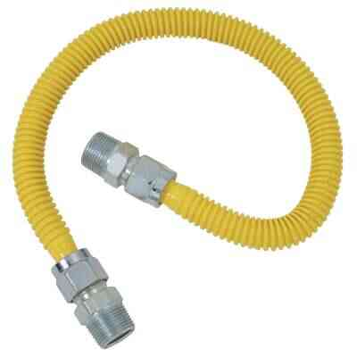Dormont 5/8 In. OD x 24 In. Coated Stainless Steel Gas Connector, 1/2 In. MIP (Tapped 3/8 In. FIP) x 1/2 In. MIP (Tapped 3/8 In. FIP)
