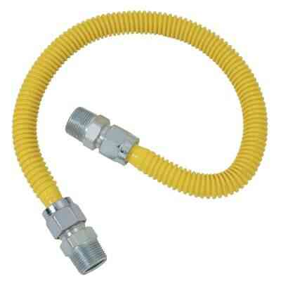 Dormont 5/8 In. OD x 72 In. Coated Stainless Steel Gas Connector, 1/2 In. MIP (Tapped 3/8 In. FIP) x 1/2 In. MIP (Tapped 3/8 In. FIP)