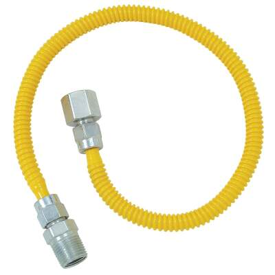 Dormont 3/8 In. OD x 18 In. Coated Stainless Steel Gas Connector, 1/2 In. FIP x 1/2 In. MIP (Tapped 3/8 In. FIP)
