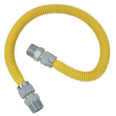 Dormont 5/8 In. OD x 60 In. Coated Stainless Steel Gas Connector, 3/4 In. MIP x 1/2 In. MIP (Tapped 3/8 In. FIP)