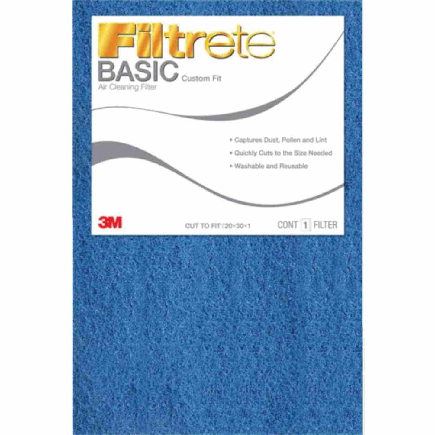 3M Filtrete 20 In. x 30 In. x 1 In. 100 MPR Basic Custom Fit Trimmable Air Filter Image 1