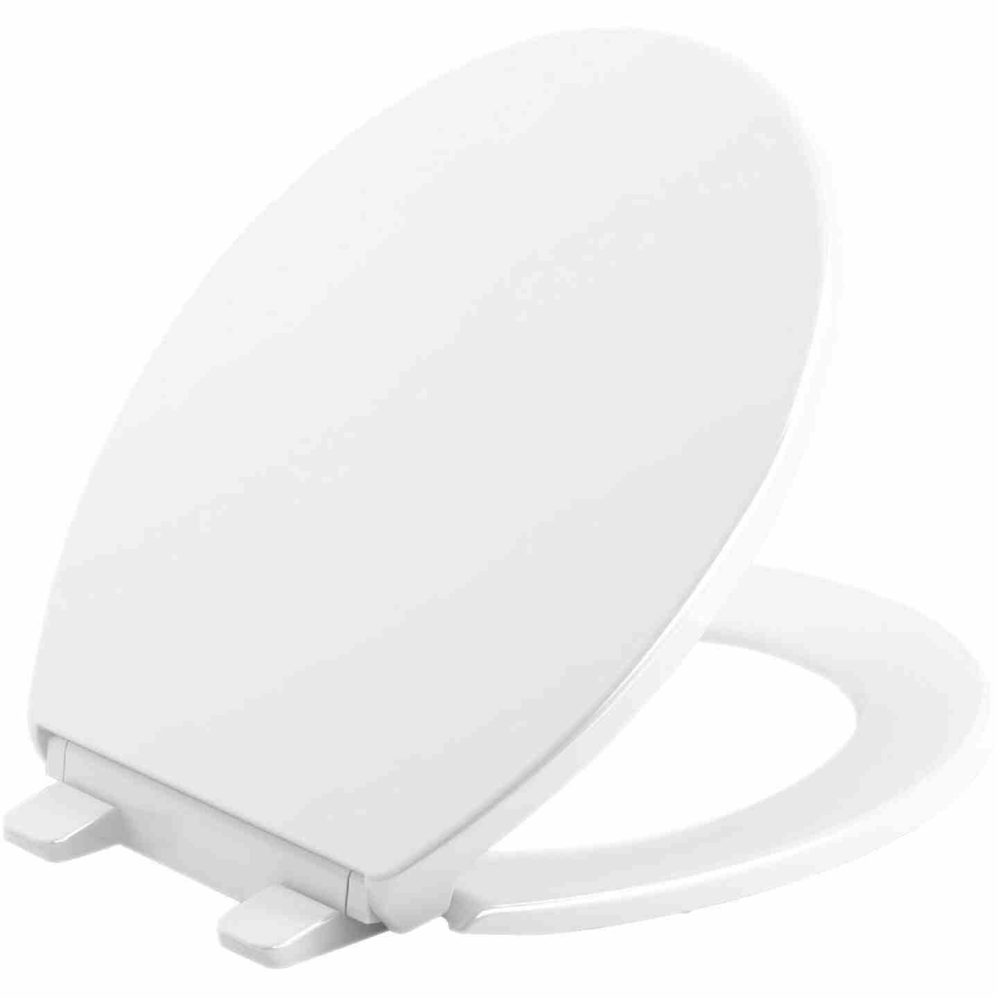 Kohler Brevia Quiet-Close Round Closed Front White Toilet Seat with Grip-Tight Bumpers Image 1