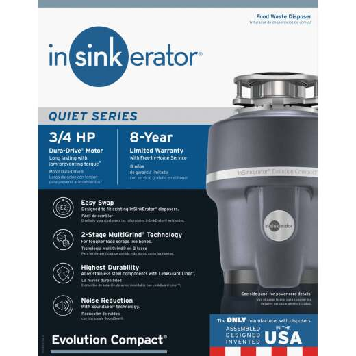 Insinkerator Evolution Compact 3/4 HP Garbage Disposer, 8 Year Warranty