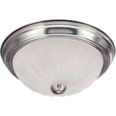 Home Impressions 13 In. Brushed Nickel Incandescent Flush Mount Ceiling Light Fixture with Frosted Melon Glass