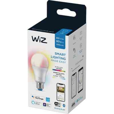 Wiz 60W Equivalent Color Changing A19 Medium Dimmable Smart LED Light Bulb