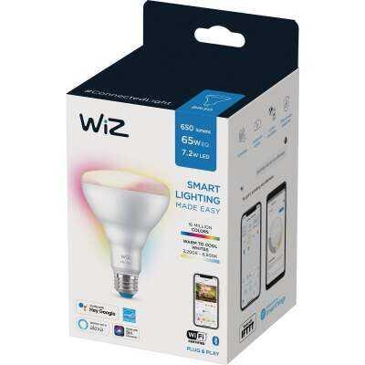 Wiz 65W Equivalent Color Changing BR30 Medium Indoor Dimmable LED Smart Floodlight Light Bulb