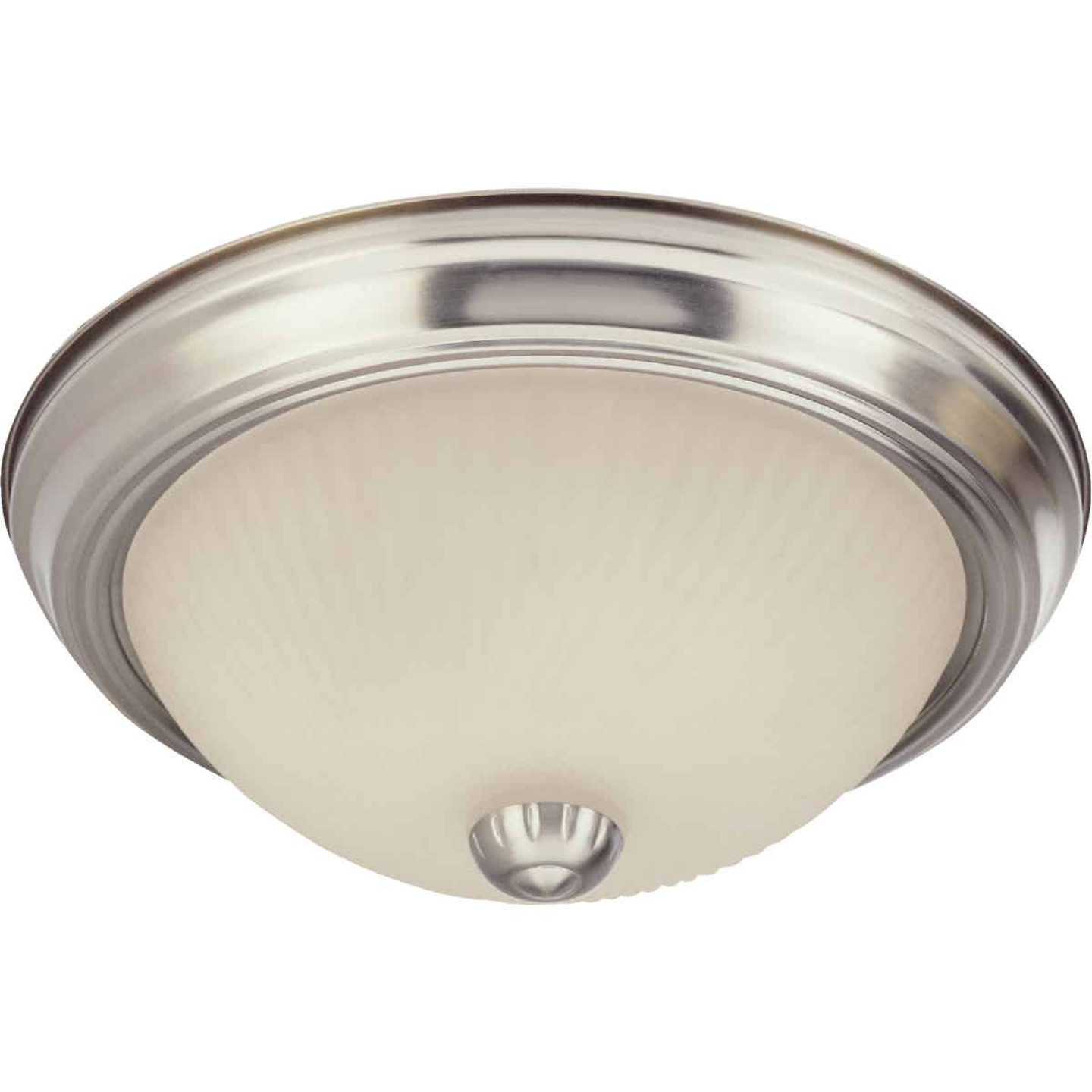 Home Impressions 11 In. Brushed Nickel Incandescent Flush Mount Ceiling Light Fixture (2-Pack) Image 2