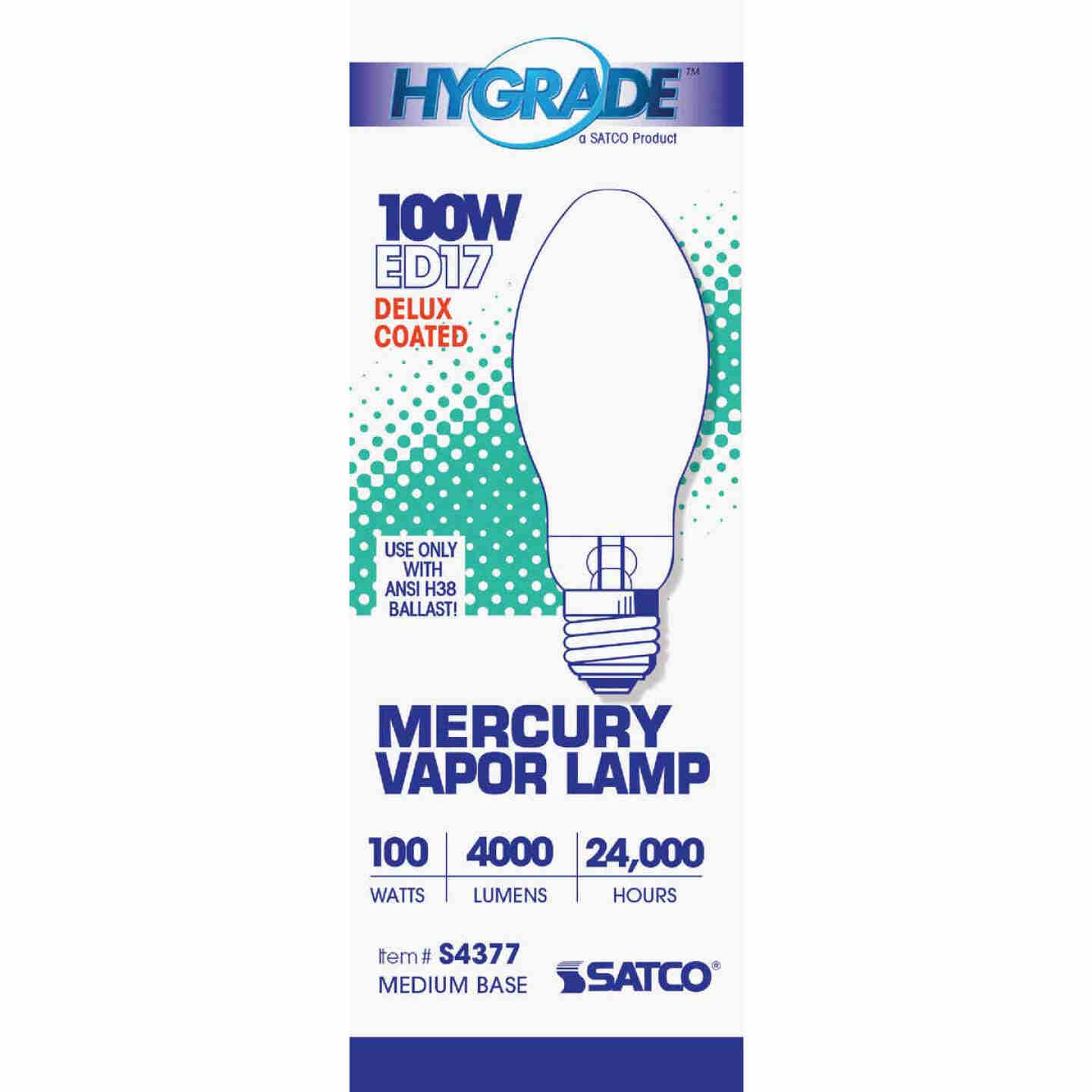 Satco 100W Coated ED17 Medium Mercury Vapor High-Intensity Light Bulb Image 2
