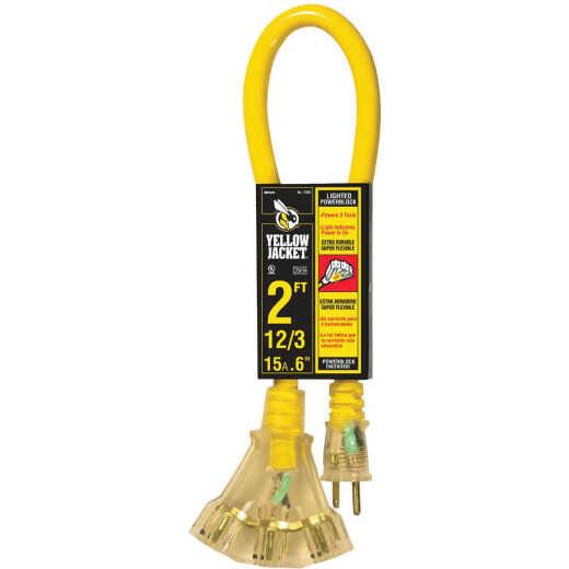 Yellow Jacket 2 Ft. 12/3 Contractor Grade Power Block Extension Cord