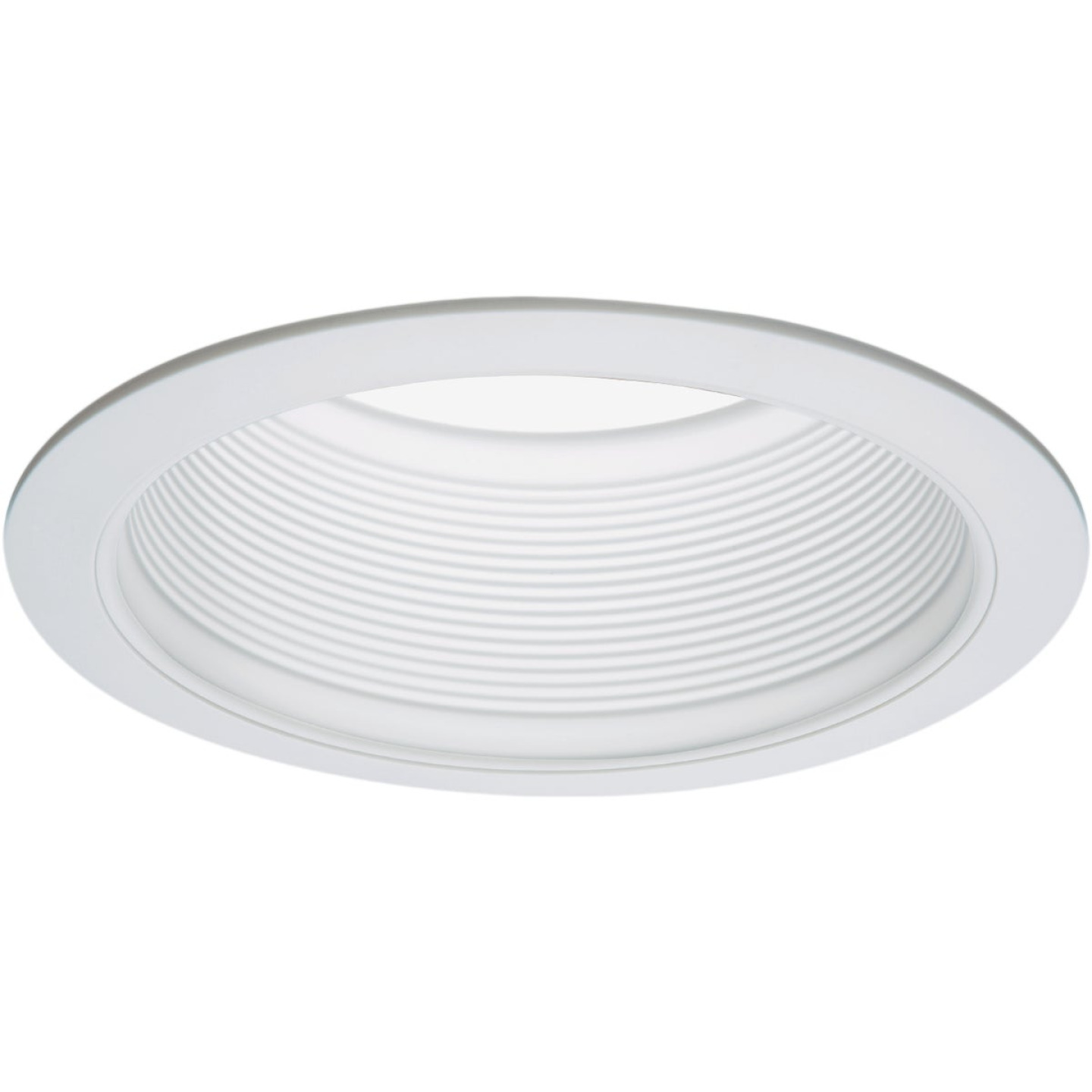 Halo 6 In. White Baffle Recessed Light Fixture Trim with 2 Removable Rings Image 1