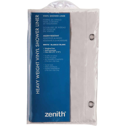 Zenith 70 In. x 72 In. White Medium Gauge PEVA Shower Curtain Liner