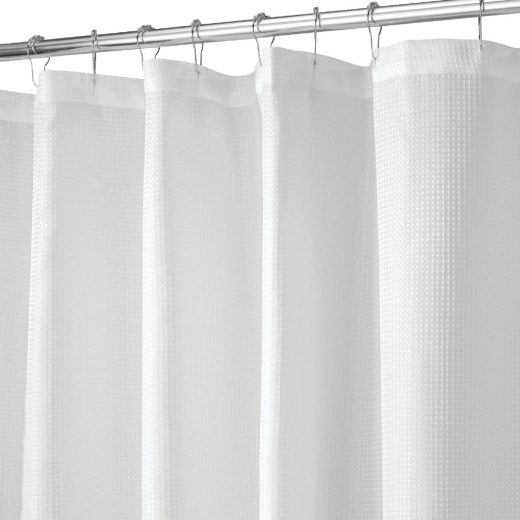 iDesign 72 In. x 72 In. Carlton White Button Hole Polyester Shower Curtain