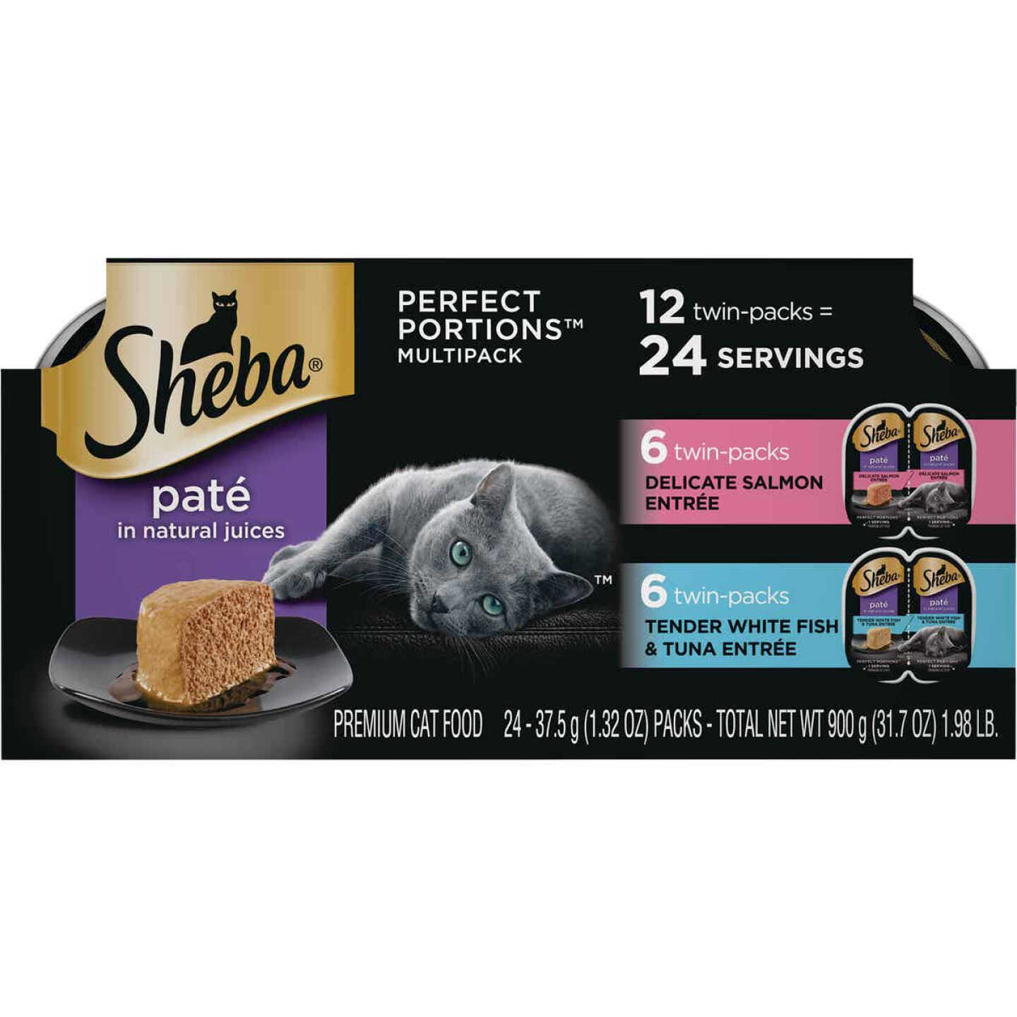 Sheba Perfect Portions Pate Adult Delicate Salmon/Tender Whitefish & Tuna Wet Cat Food (12-Pack) Image 1