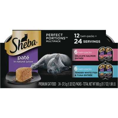 Sheba Perfect Portions Pate Adult Delicate Salmon/Tender Whitefish & Tuna Wet Cat Food (12-Pack)