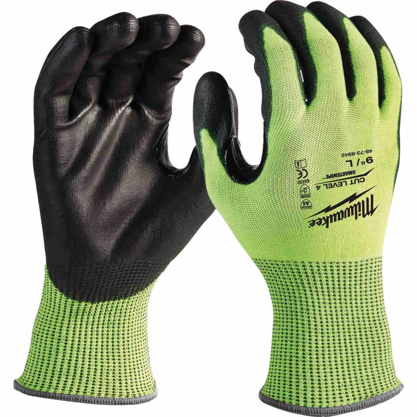 Milwaukee Men's Large Cut Level 4 High Vis Nitrile Dipped Glove Image 1