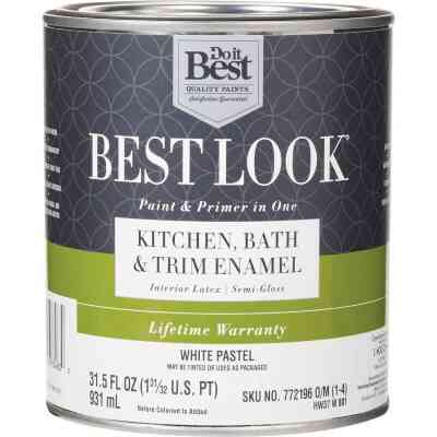 Best Look Latex Paint & Primer In One Kitchen Bath & Trim Semi-Gloss Interior Wall Paint, White-Pastel Base, 1 Qt.