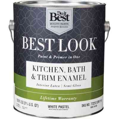 Best Look Latex Paint & Primer In One Kitchen Bath & Trim Semi-Gloss Interior Wall Paint, White-Pastel Base, 1 Gal.