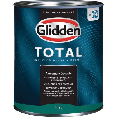 Glidden Total Interior Paint + Primer Flat Midtone Base Quart