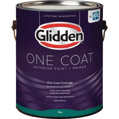 Glidden One Coat Exterior Paint + Primer Flat Midtone Base 1 Gallon