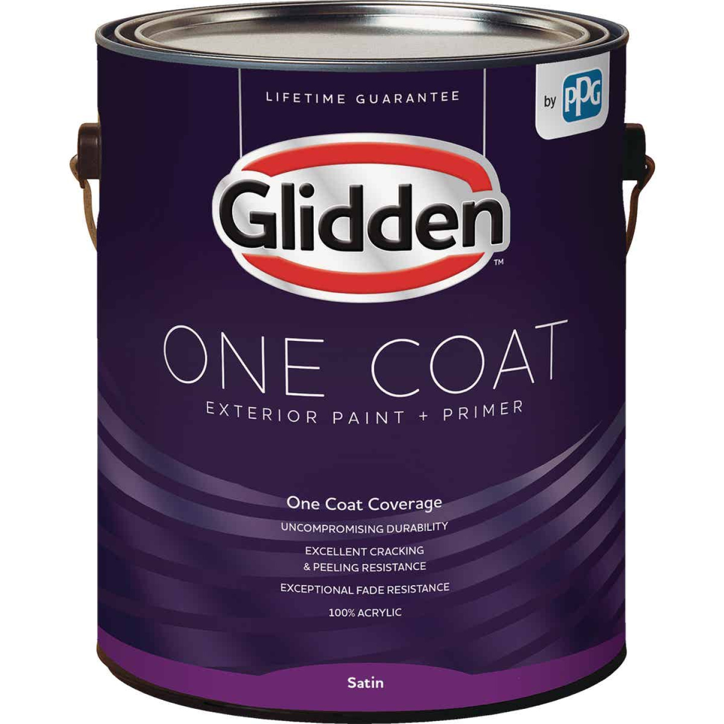Glidden One Coat Exterior Paint + Primer Satin Ultra Deep Base 1 Gallon Image 1