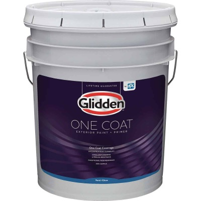 Glidden One Coat Exterior Paint + Primer Semi-Gloss White & Pastel Base 5 Gallon