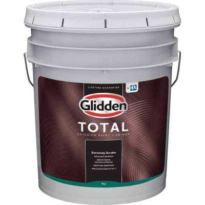 Glidden Total Exterior Paint + Primer Flat Midtone Base 5 Gallon