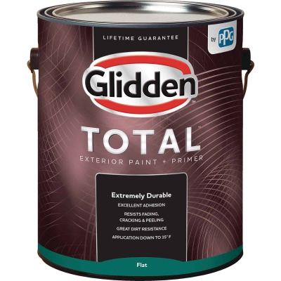 Glidden Total Exterior Paint + Primer Flat Midtone Base 1 Gallon