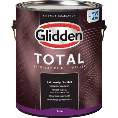 Glidden Total Exterior Paint + Primer Satin White & Pastel Base 1 Gallon