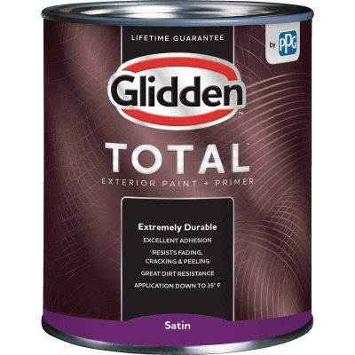 Glidden Total Exterior Paint + Primer Satin Ultra Deep Base Quart