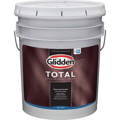 Glidden Total Exterior Paint + Primer Semi-Gloss White & Pastel Base 5 Gallon