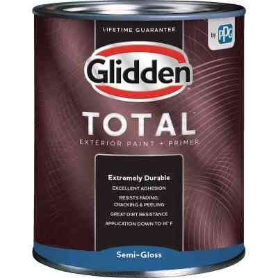 Glidden Total Exterior Paint + Primer Semi-Gloss Ultra Deep Base Quart